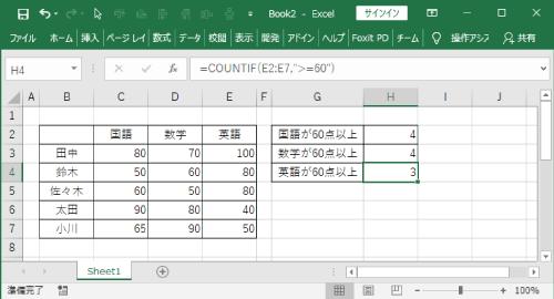 COUTIFの比較集計結果