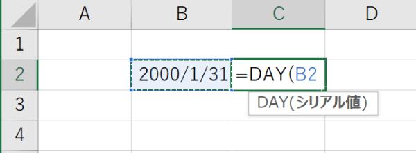 DAY関数の日付の指定