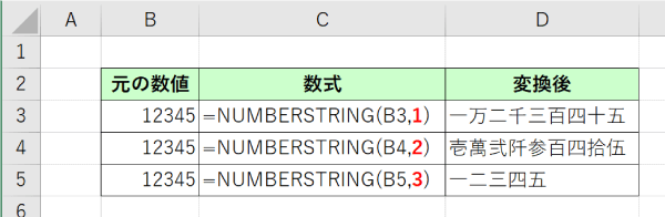NUMBERSTRING関数の入力