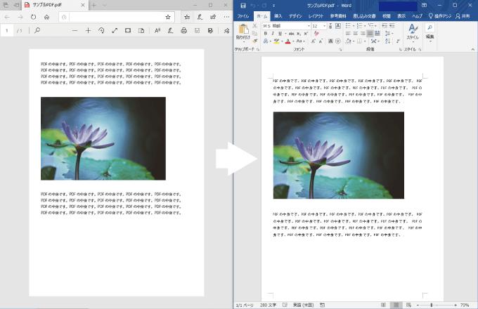 PDFをワードで開いた例