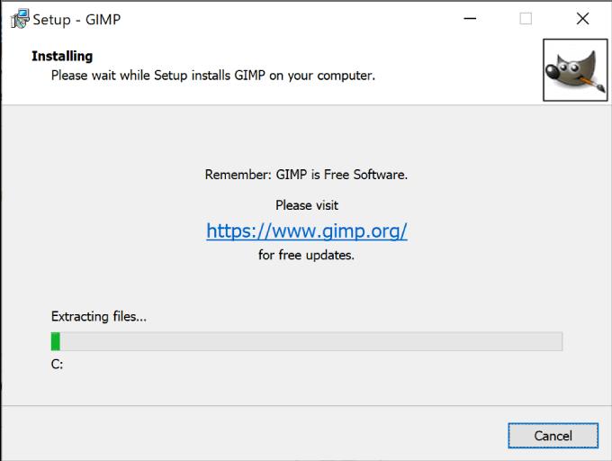 GIMPのインストールが開始される