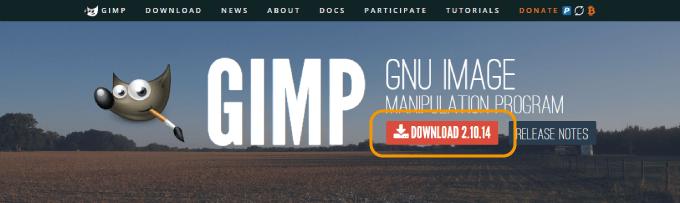 GIMPの公式ページのDOWNLOADボタン