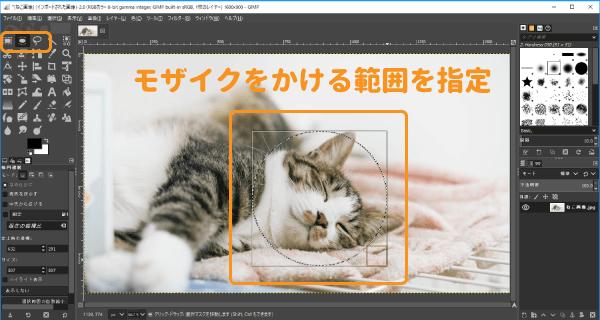 GIMPでモザイクをかける範囲を選択