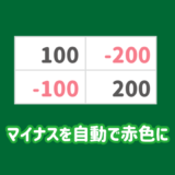 エクセルでマイナスのセルの文字や背景を自動で赤色に