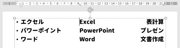 パワーポイントの文字を揃えたサンプル