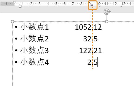 小数点揃えのタブの例