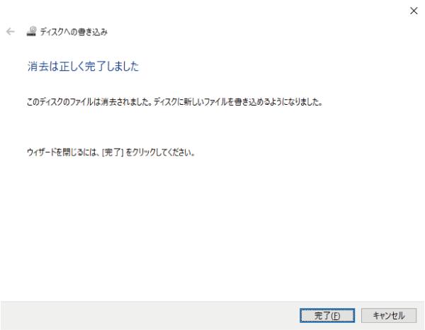 ディスクデータの消去完了