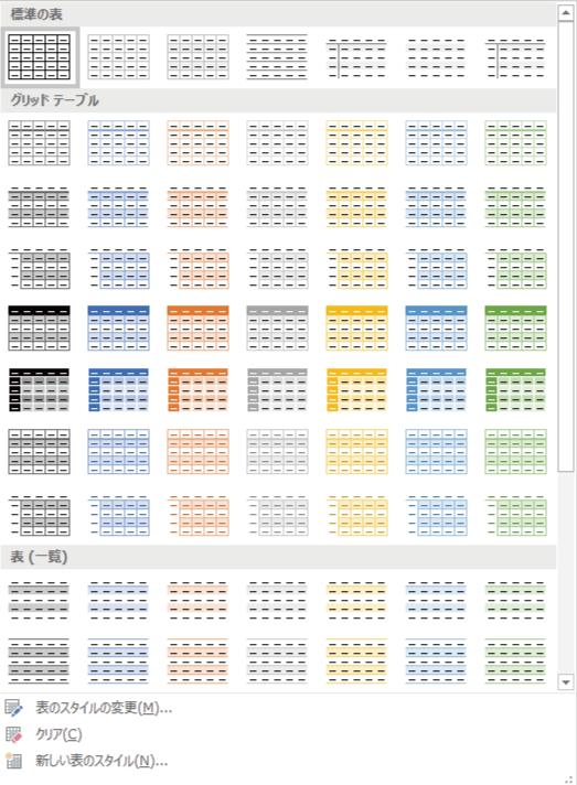 ワードの表のスタイル一覧