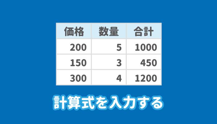 ワードの表に計算式を入力する