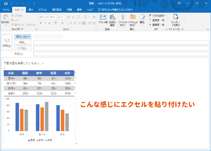 OutLookの本文にエクセルを貼り付ける