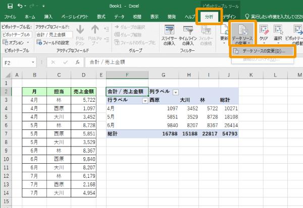 ピボットテーブルのデータソースの変更