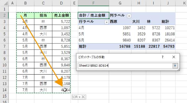 ピボットテーブルのデータソースの範囲指定